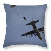 Personnel Jump From A C-130 Hercules Throw Pillow
