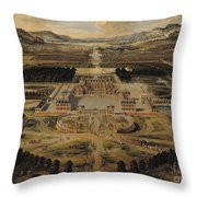 Perspective View Of The Chateau Gardens And Park Of Versailles Throw Pillow by Pierre Patel