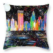 Perth Skyline Alla Pollock  Throw Pillow