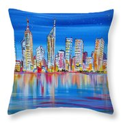 Perth Skyscrapers Skyline On The Swan River Throw Pillow
