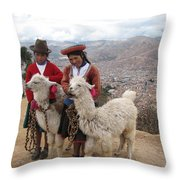 Peruvian Girls With Llamas Throw Pillow
