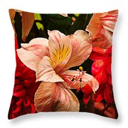 Peruvian Lily Grain Throw Pillow by Bill Tiepelman