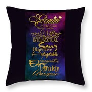 Pesonality Traits Of A Gemini Throw Pillow by Mamie Thornbrue