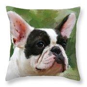 Pet Bulldog Portrait Throw Pillow