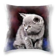 Pet Cat Portrait Throw Pillow