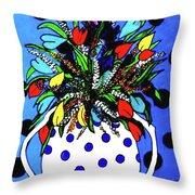 Petals And Dots Throw Pillow