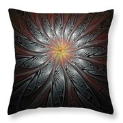 Petals In Pewter Throw Pillow
