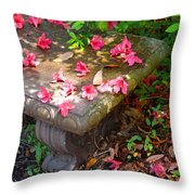 Petals On A Bench Throw Pillow