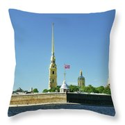 Peter And Paul Fortress. Saint Petersburg, Russia Throw Pillow