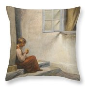 Peter Ilsted Danish, 1861-1933, On The Porch, Liselund Throw Pillow