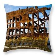Peter Iredale Shipwreck - Oregon Coast Throw Pillow