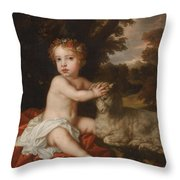 Peter Lely Portrait Of Princess Isabella 1676-1680 Daughter Of King James II And Mary Of Modena Throw Pillow