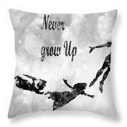 Peter Pan-black Throw Pillow