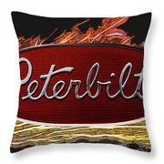 Peterbilt Emblem In Flames Throw Pillow
