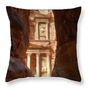 Petra Treasury Revealed Throw Pillow