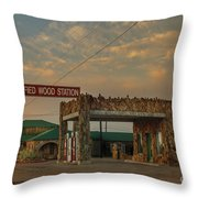 Petrified Gas Station After Rain Throw Pillow
