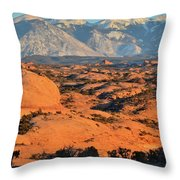 Petrified Sand Dunes Of Arches Np Throw Pillow by Ray Mathis