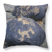 Petroglyphs By Hohokam People, Circa Throw Pillow