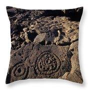 Petroglyphs In Kalahuipuas Historic Throw Pillow