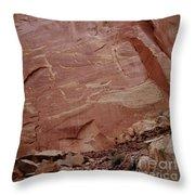 Petroglyphs On A Sheer Rock Wall Throw Pillow