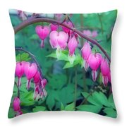 Pretty Little Bleeding Hearts Throw Pillow