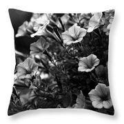 Petunias 1 Black And White Throw Pillow