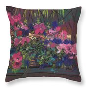 A Basket Of Petunias Throw Pillow