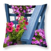 Petunias On Blue Porch Throw Pillow