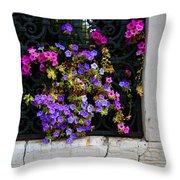 Petunias Through Wrought Iron Window Throw Pillow