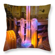 Pews Under Stained Glass Throw Pillow