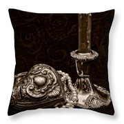 Pewter And Pearls - Sepia Throw Pillow