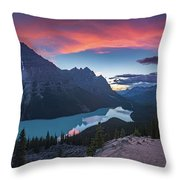 Peyto Lake At Dusk Throw Pillow