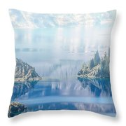 Phantom Ship Island In Mist At Crater Lake Throw Pillow