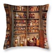 Pharmacy - Get Me That Bottle On The Second Shelf Throw Pillow by Mike Savad