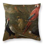 Pheasant Macaw Monkey Parrots And Tortoise  Throw Pillow