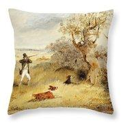 Pheasant Shooting Throw Pillow by Henry Thomas Alken