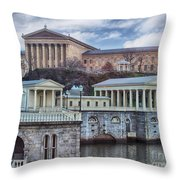 Philadelphia Art Museum At The Water Works  Throw Pillow