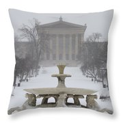 Philadelphia Art Museum From The West In Winter Throw Pillow