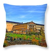 Philadelphia Art Museum From West River Drive. Throw Pillow