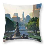 Philadelphia Benjamin Franklin Parkway Throw Pillow