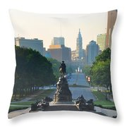 Philadelphia Benjamin Franklin Parkway Throw Pillow by Bill Cannon