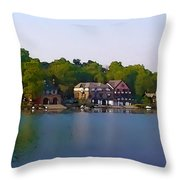 Philadelphia Boat House Row Throw Pillow by Bill Cannon