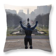 Philadelphia Champion - Rocky Throw Pillow by Bill Cannon