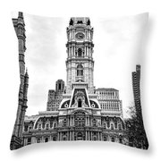 Philadelphia City Hall Building On Broad Street Throw Pillow