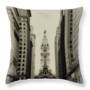 Philadelphia City Hall From South Broad Street Throw Pillow