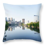 Philadelphia Cityscape Along The Schuylkill River Throw Pillow