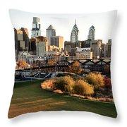 Philadelphia Cityscape From Penn Park In University City Throw Pillow
