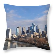 Philadelphia From The South Street Bridge Throw Pillow by Bill Cannon