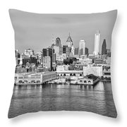 Philadelphia From The Waterfront In Black And White Throw Pillow