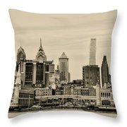 Philadelphia From The Waterfront In Sepia Throw Pillow
